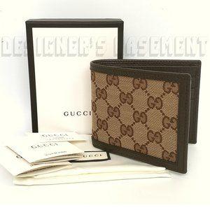GUCCI Original GG canvas & leather bifold Wallet